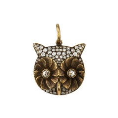 Yellow Gold Owl Pendant with 0.80 Carat Old European and Rose Cut Diamonds