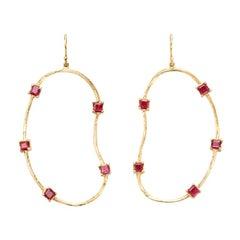 Susan Lister Locke Oyster Earrings with 3.5 Carat Rubies in 18 Karat Gold