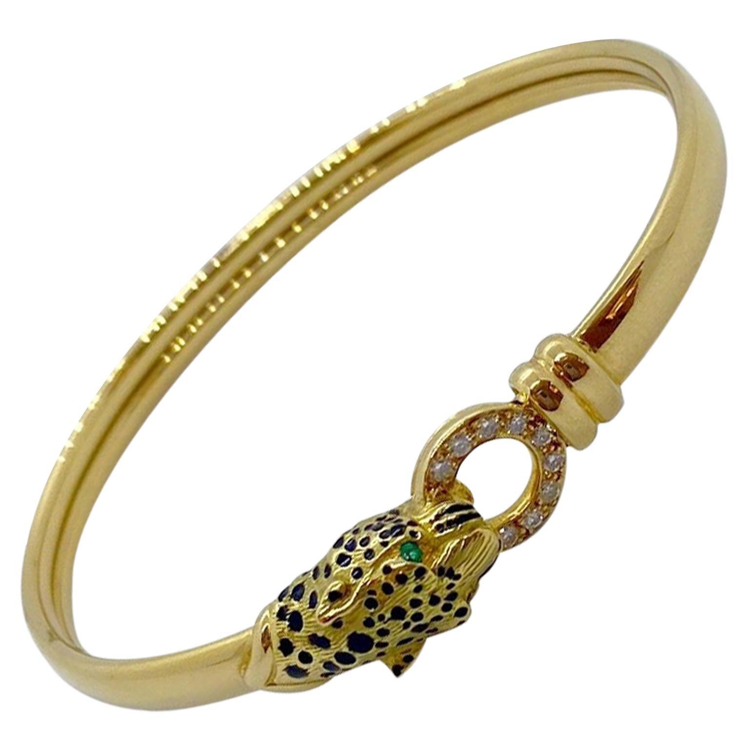 18 Karat Gold Panther Head Bangle Bracelet with Diamonds, Emeralds and Enamel