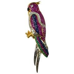 18 Karat Gold Parrot Brooch Sapphire Diamonds Emeralds 3.00 Total Carat Weight