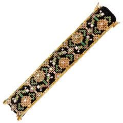 18 Karat Gold Patola Bracelet in Diamonds, Yellow Sapphires, Rubies and Emeralds