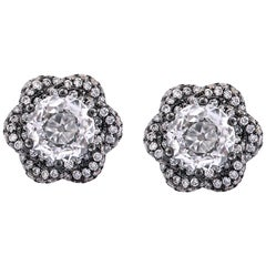 18K Gold 0.70ct Each Old Cut Diamond Black Rhodium Pave Border Earrings Studs