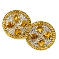 18 Karat Gold Pavé Citrine, Yellow Sapphire and Diamond Earrings