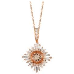 18 Karat Gold Peach Morganite Ballerina Necklace w/ Baguette Diamonds 2/3 Carat