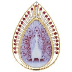 18 Karat Gold Peacock Agate Cameo Ruby Diamond Pendant Brooch
