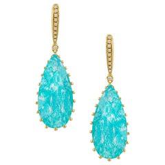 18 Karat Gold Pear Shape Drop Earrings with Amazonite, White Quartz and Diamonds