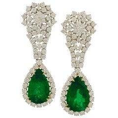 18 Karat Gold Pear Shape Emerald, Diamond Earrings