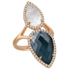 18 Karat Gold Pear Shape Ring with Hematite, Mother of Pearl, Topaz and Diamonds
