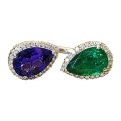 18 Karat Gold, Pear Shaped Emerald & Tanzanite and Diamond Cocktail Ring