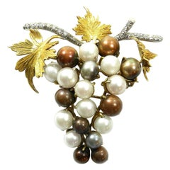 18 Karat Gold Pearl and Diamond Grape Brooch