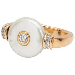 18 Karat Gold Pearl and Diamond Ring