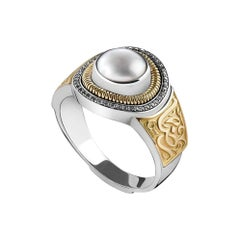 18 Karat Gold, Pearl and Diamond Signature Calligraphy Ring