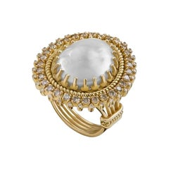 18 Karat Gold, Pearl, Champagne Diamond and Diamond Limited Moonlight Ring