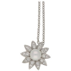Pearl & Diamond Floral Cluster Necklace in 18 Karat White Gold