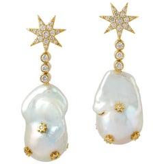18 Karat Gold Pearl Diamond Star Earrings