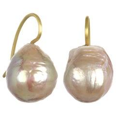 18 Karat Gold Pearl Drop Earrings