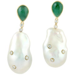 18 Karat Gold Pearl Emerald Diamond Earrings