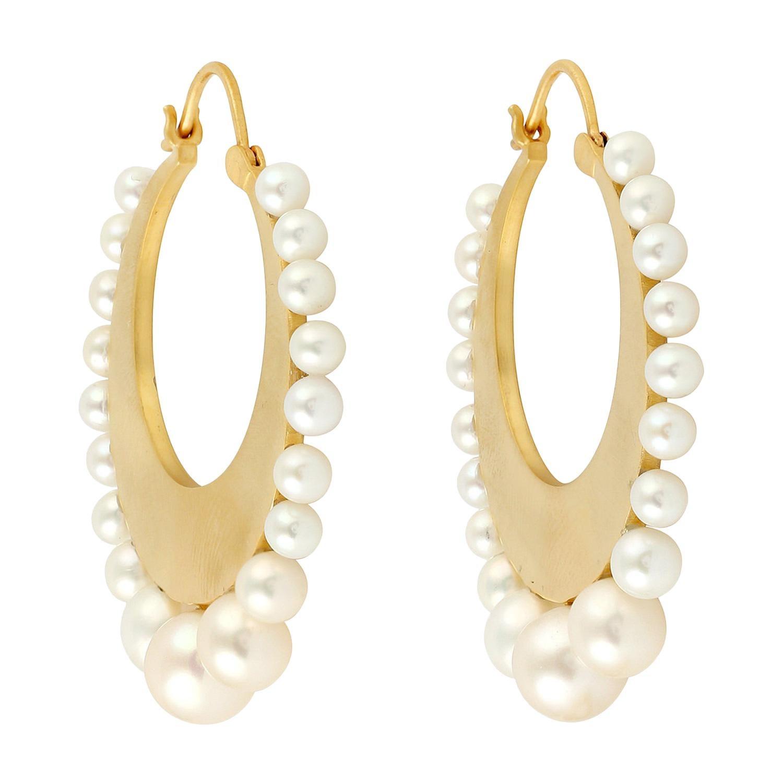 18 Karat Gold Pearl Hoop Earrings