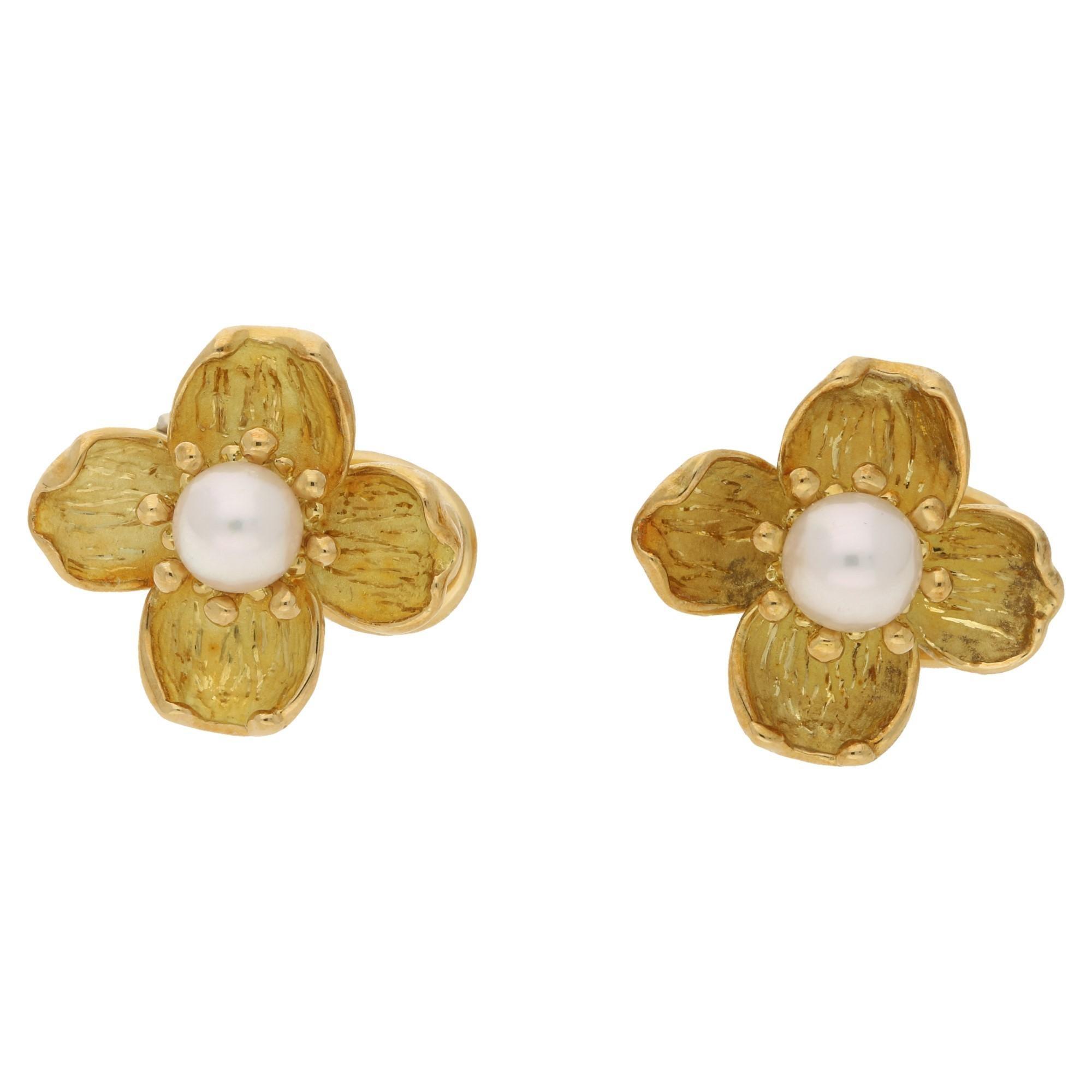 51302fff3374 18 Karat Gold Pearl Tiffany and Co. Dogwood Earrings at 1stdibs