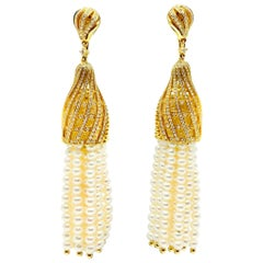 18 Karat Gold Pearls and Diamonds Earrings
