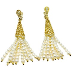 18 Karat Gold Pearls and Diamonds Earrings