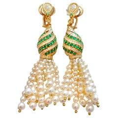 18 Karat Gold Pearls, Emeralds and Diamonds Earrings