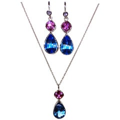 18 Karat Gold Pendant and Earring Set with Tanzanite Topaz and Cultured Sapphire