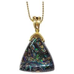 Kary Adam Designed, Boulder Opal Pendant set in 18kt Gold