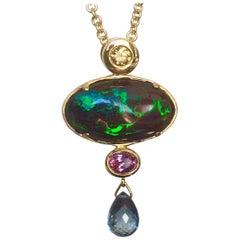 18 Karat Gold Pendant with Yellow Diamond, Boulder Opal & Pink & Teal Sapphires