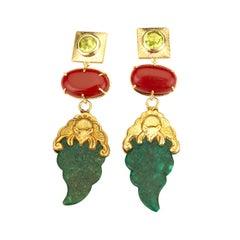 18 Karat Gold Peridot Coral Earrings Rare Chinese Earrings