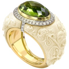 18 Karat Gold Peridot, Diamond and Carved Mammoth Bone Chrysanthemum Ring