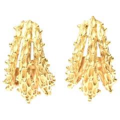 18 Karat Gold Pierced Earrings Italian Vintage