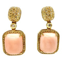 18 Karat Gold Pink Coral and Diamonds Earrings