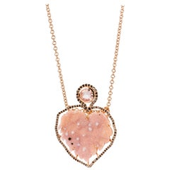 18 Karat Gold Pink Druzy Necklace with a Black Diamond Halo and a Pink Sapphire