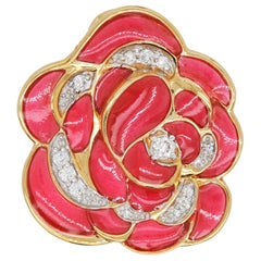 18 Karat Gold Pink Enamel Plique-a-Jour Rose Pendant Necklace