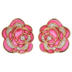 18 Karat Gold Pink Plique-A-Jour Enamel Rose Stud Earrings