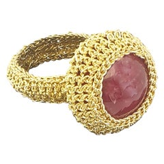 18 Karat Gold Pink Rhodonite One of a Kind Handcrafted Crochet Cocktail Ring