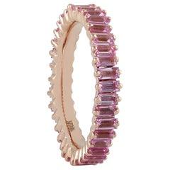 18 Karat Gold Pink Sapphire Baguette Ring