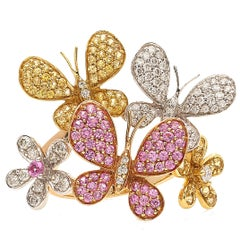 18 Karat Gold Pink Sapphire Yellow Sapphire and Diamonds Butterfly Cocktail Ring