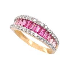 18 Karat Gold Pink Tourmaline Baguette Diamond Contemporary Band Ring