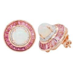 18 Karat Gold Pink Tourmaline Ethiopian Opal Diamond Circular Stud Earrings