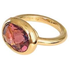 18 Karat Gold Pink Tourmaline Ring