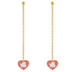 18 Karat Gold-Plated Sterling Silver Jasperware Cameo Chain Earrings