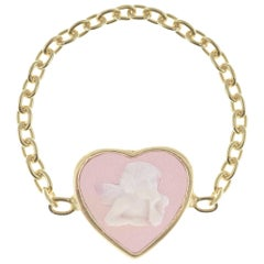 18 Karat Gold-Plated Sterling Silver Cameo Cherubs Chain Ring