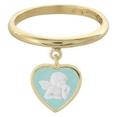 18 Karat Gold-Plated Sterling Silver Jasperware Cameo Cherubs Charm Ring