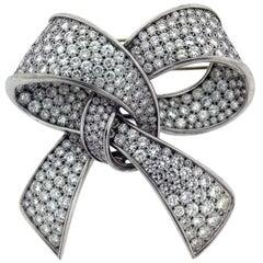18 Karat Gold Platinum 25 Carat Round Diamonds Ladies Ribbon Large Brooch Pin