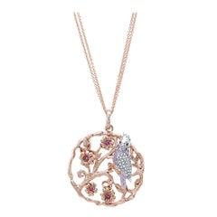 18 Karat Gold, Platinum, Diamond, Ruby and Sapphire Gallah Bird Pendant 'Polly'