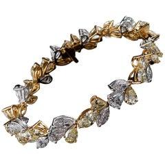 18 Karat Gold, Platinum Sunburst Bracelet with Fancy Colored Diamonds