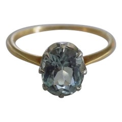 18 Karat Gold Platinum Edwardian Aquamarine Solitaire Ring