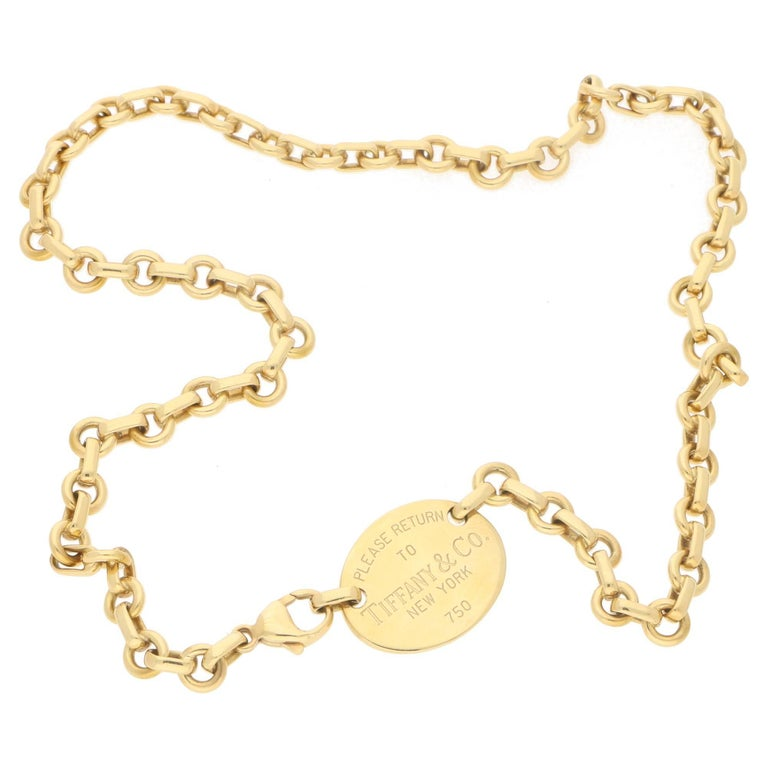 ec3a6a880 18 Karat Gold 'Please Return to Tiffany' Oval Tag Necklace For Sale ...
